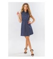 Платье-рубашка для кормления, мелкий цветочек на темно-синем