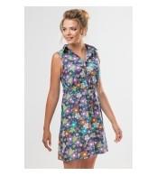Платье-рубашка для кормления, Цветы на синем