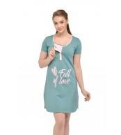 """Ночная рубашка """"Clover"""" для беременных и кормящих, минт"""