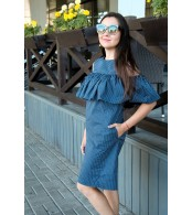 Платье с воланом для беременных и кормящих, горошек