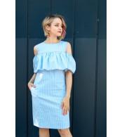 Платье с воланом для беременных и кормящих, полоска