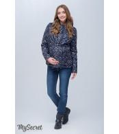 Демисезонная двухсторонняя куртка для беременных  Floyd, темно-синий с принтом цветы + коралловый