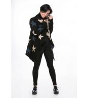 Шаль звезды, черный+джинс