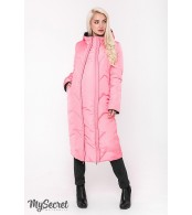 Зимнее пальто для беременных  Tokyo, черный и теплый розовый