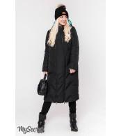 Зимнее пальто для беременных  Tokyo, черный и аквамарин