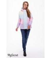 Демисезонная  куртка для беременных  Sia, сочетание сиреневого, розового, голубого и желтого