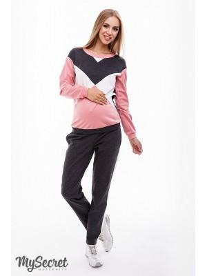 Костюм для беременных и кормящих Olbeni, антрацит/темно-розовый/молоко