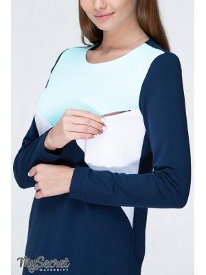 Платье  для беременных и кормящих Denise light, сочетание темно-синего с аквамариновым и белым
