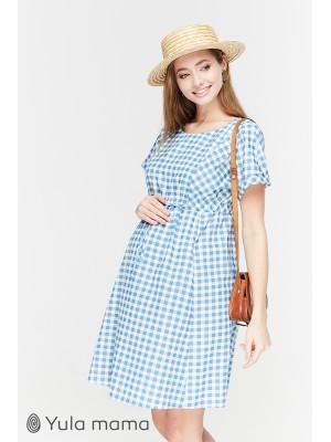 Платье Sherry  для беременных и кормящих, джинсово-голубой в клеточку