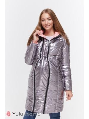 Куртка зимняя Kristin, металлик графит с розовым