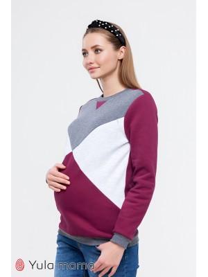 Свитшот  Cat warm  для беременных и кормящих,  вишневый/темно-серый меланж/серый меланж