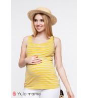 Майка  MILEY для беременных  и кормящих, крупная желто-белая полоска с синими полосочками