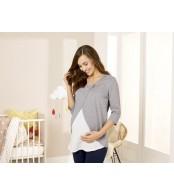 Реглан блуза с запáхом для беременных и кормления esmara, серый меланж