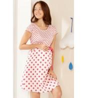 Хлопковое белое платье в горошек для беременных и кормления esmara