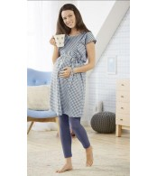 Хлопковое белое платье в клетку для беременных и кормления esmara