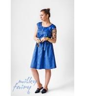 Платье с поясом, синий джинс
