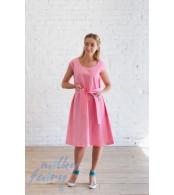 Платье с поясом, розовый жаккард