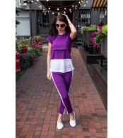 Летний костюм с лампасами для кормления Lullababe Boston фиолетовый