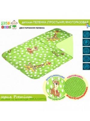 Двусторонняя пеленка-простынь Непромокайка PREMIUM, бязь с детским рисунком